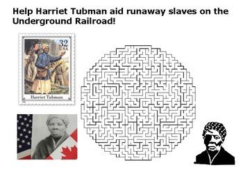 Help Harriet Tubman on the Underground Railroad Maze Puzzle