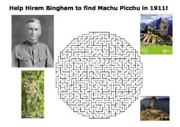Help Hiram Bingham find Machu Picchu maze puzzle