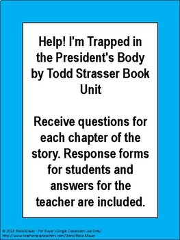 Help! I'm Trapped in the President's Body by Todd Strasser Book Unit
