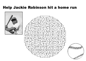 Help Jackie Robinson hit a home run maze puzzle