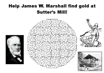 Help James W. Marshall find gold at Sutter's Mill maze puzzle