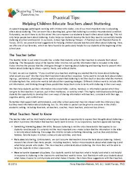Help Kids Teach their Teachers about Stuttering