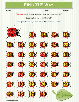 Help Ladybug - Numerical order from 11 to 20