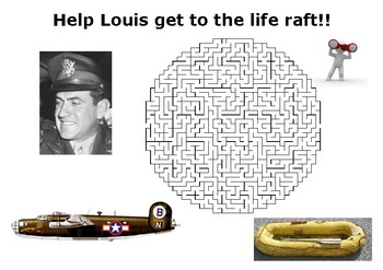 Help Louis Zamperini get to the life raft maze puzzle