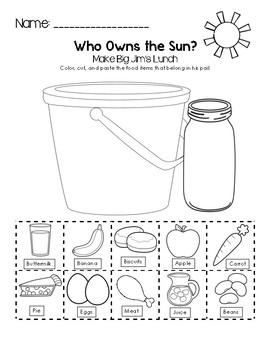 Help Make Big Jim's Lunch - Who Owns the Sun? Worksheet