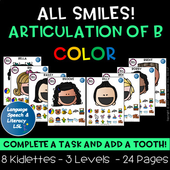 Help Me Find My Teeth Activity for Articulation of the B Sound - Color