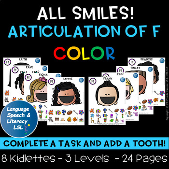 Help Me Find My Teeth Activity for Articulation of the F Sound - Color