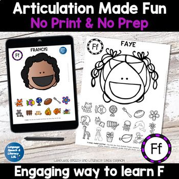 No Print Articulation of F in Words & Sentences Speech Therapy Intervention