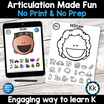 No Print Articulation of K in Words & Sentences Speech Therapy Intervention
