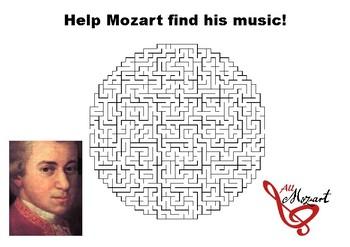 Help Mozart find his music maze puzzle