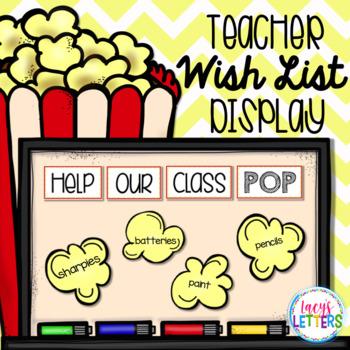 Teacher Wish List Display - Popcorn Theme