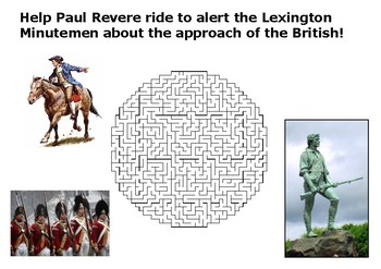 Help Paul Revere warn about the approach of the British maze puzzle