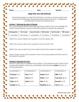 Help Plan the Fall Festival! (A Project for Beginning Third Grade Math Skills)