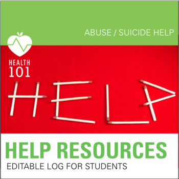 Help Resource for Students- Editable!  Suicide, Abuse, Advice & Rescue Hotline