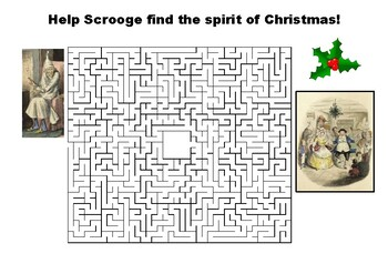 Help Scrooge find the spirit of Christmas maze puzzle