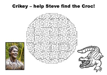 Help Steve Irwin find the crocodile maze puzzle