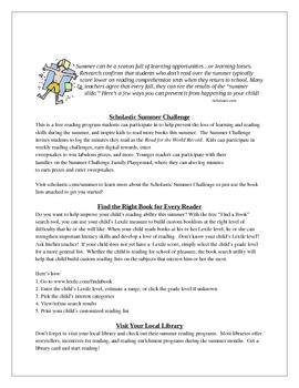 Help Stop the Summer Slide: A Parent Letter