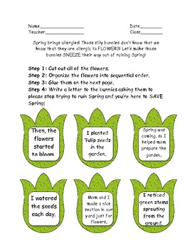 Help Susie save Spring! Sequencing Activity! Common Core a