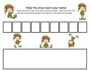 Help The Elves Learn Your Name- Name Writing Page