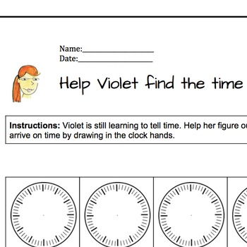 Help Violet tell time | Telling time practice lesson