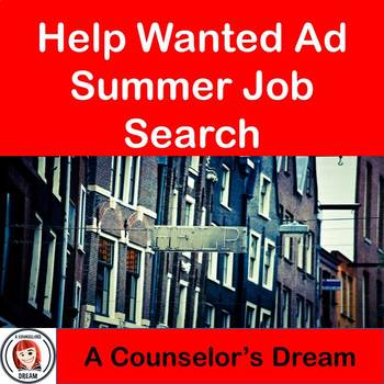 Help Wanted Ad Summer Job Search Activity