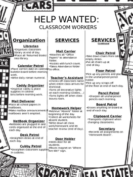 Help Wanted Classroom Job Application [EDITABLE!!!]