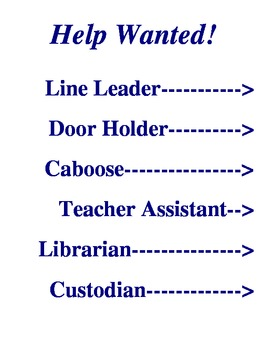 Help Wanted: Classroom Job Chart