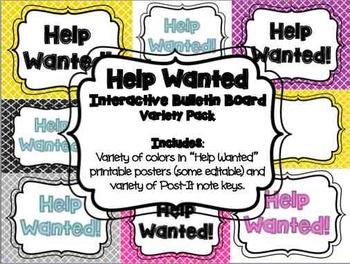 Help Wanted - Interactive Bulletin Board Printable Freebie