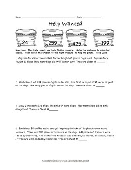 Help Wanted Pirate Using Bar Models Worksheet