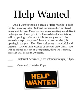 Help Wanted Posters Industrial Revolution