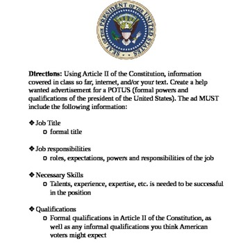 Help Wanted: Powers of the President Assignment