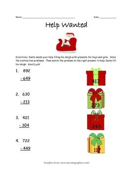 Help Wanted Santa  3-Digit Subtraction Worksheet