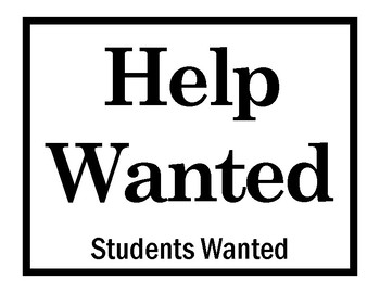 Help Wanted Students Sign