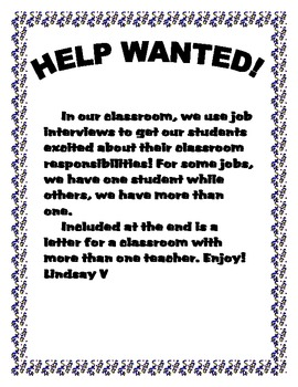 Back to School- Help Wanted