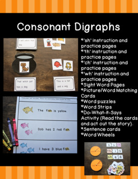 Consonant Digraphs SH, TH, CH, WH Practice