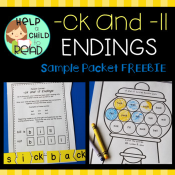 Help a Child to Read:  -ck and -ll Endings Sample Packet