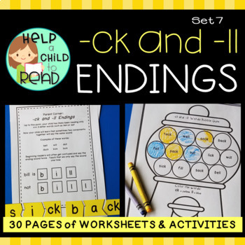 Help a Child to Read Series Set 7:  -ck and -ll Endings FULL PACKET