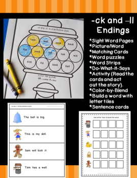 -ck and -ll Word Endings Practice (FULL Packet)