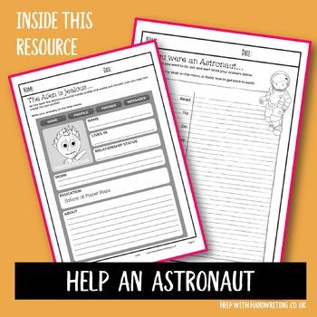 Help an astronaut handwriting worksheets