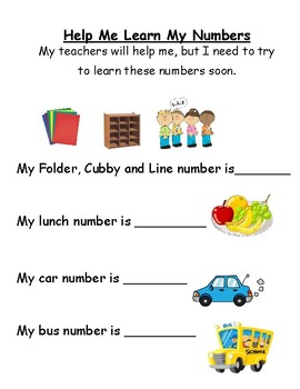 Help me learn my numbers (cubby, folder, bus, car)