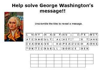 Help solve George Washington's puzzle message !!