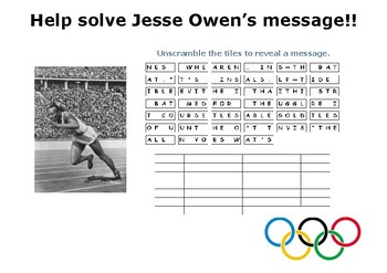 Help solve Jesse Owen's message!!