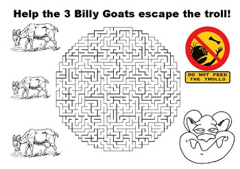 Help the 3 Billy Goats escape the troll maze puzzle