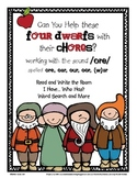 Help the Dwarfs Do Chores: Word Work for /ore/ spelled ore, oar, oor, our, (w)ar