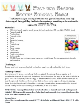 Help the Easter Bunny Deliver Eggs! Science Inquiry Egg Drop Experiment STEM