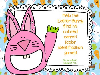 Help the Easter Bunny find his colored carrot (color identification)