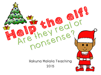 Help the Elf! Real and Nonsense Word Sort