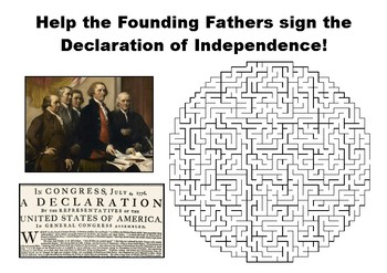 Help the Founding Fathers sign the Declaration of Independence maze puzzle
