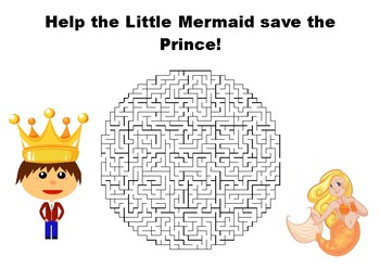 Help the Little Mermaid save the Prince maze puzzle