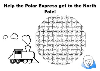 Help the Polar Express get to the North Pole maze puzzle